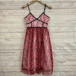 L'atiste M lace sequin tulle dress midi Red floral
